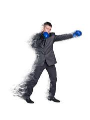 Handsome businessman boxer.
