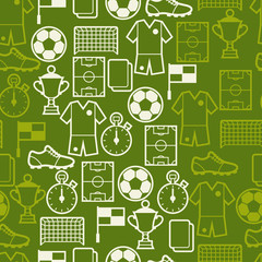 Sports seamless pattern with soccer symbols.