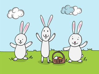 Cute rabbits with eggs basket for Happy Easter celebration.