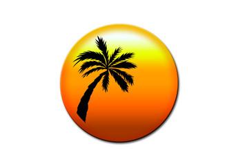 Urlaube Button mit Palme