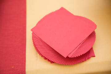 Red napkins on the table