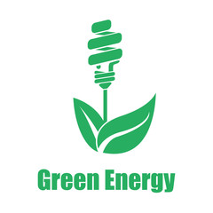 Vector green energy saving white backgroung. Technologies of the