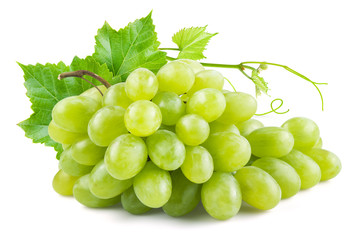 Green grapes with leaves. Isolated on white
