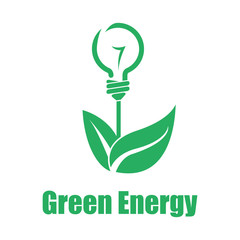 Vector green energy white backgroung. Technologies of the future