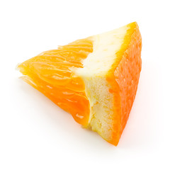 Orange fruit. Little slice isolated on white. With clipping path