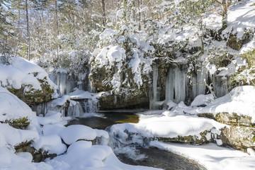 Frozen waterfall of Puente Ra, La Rioja (Spain)