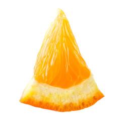 Orange fruit. Small slice isolated on white