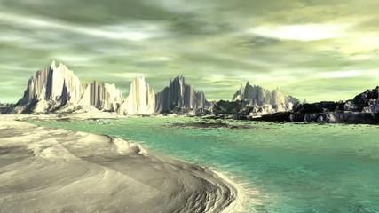 Alien Planet - 3D Rendered Computer Artwork. Rocks and  lake