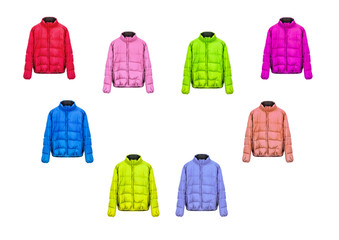 collection of jackets on a white background