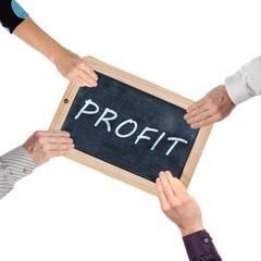 Word profit on chalkboard
