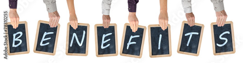 Word benefits on chalkboards - 78310255