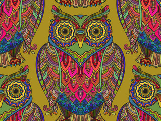 Seamless pattern with a lot of beautiful owls