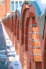 Red bricks wall. Moscow Kremlin. UNESCO Heritage Site.