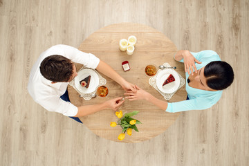 Top view of table and marriage proposal