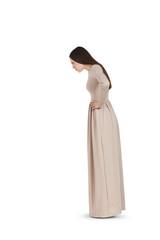 beautiful woman in long dress staring