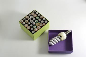Used rechargeable batteries and and economic bulb on white backg