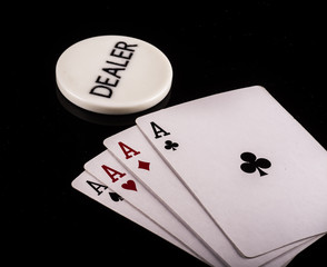 poker dealer cards chips night flush