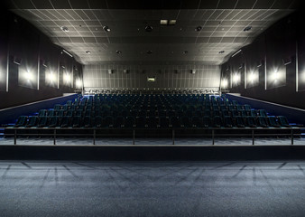 Interior of the modern theater. View from the stage to the hall