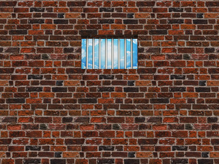 The interior of the prison cell, barred window