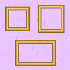 Set gold metal frame