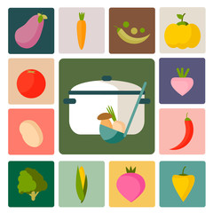 Vegetable vector icons. Perfect food set.