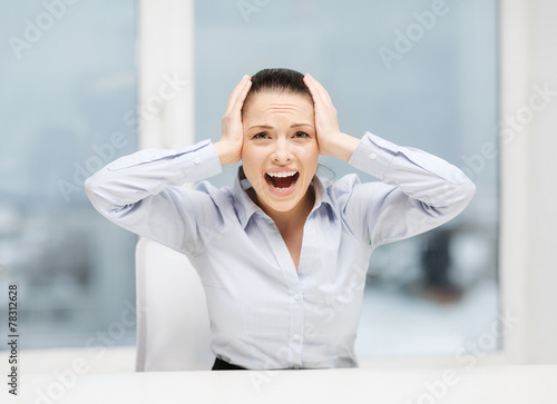 canvas print picture angry screaming businesswoman in office