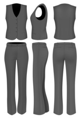 Formal black trousers suit for women