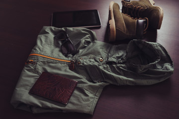 Set of outfit for traveler man or woman