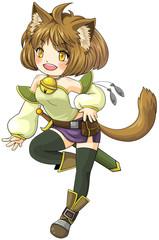Fantasy female cat warrior in Japanese manga illustration style,