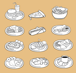 Black and white line drawing of international food icon collecti