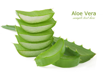 Fresh aloe vera leaves isolated on white