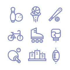 Set Fitness, sports, gym, icons Vector illustration line