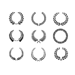 Set of black and white silhouette circular laurel  foliate and