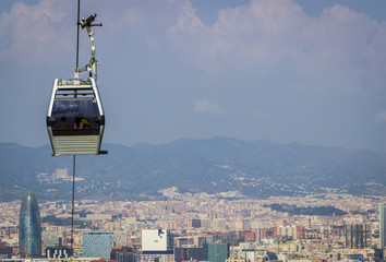 Cable car with city landscape in background
