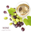 White wine and red and green grapes