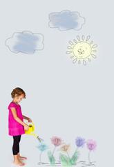 bambina ad annaffiare le piante