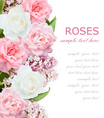 Wedding background with pink roses and lilac