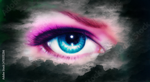women eye painting in cloud sky effect black and white retro sty - 78315286