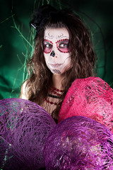 the girl in the mask sugar skull