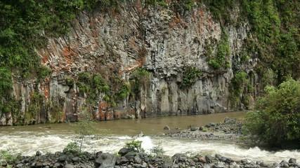 Basalt columns beside the rio Quijos, Ecuador