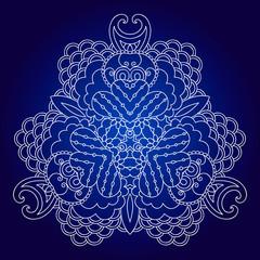 White mandala on dark blue background
