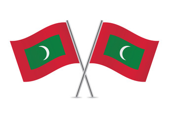 Maldives flags. Vector illustration.