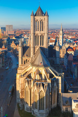 Aerial view of Ghent from Belfry, Belgium.