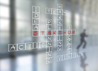 Businessman write business start-up diagram on wall glass