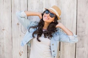 Pretty hipster smiling at camera