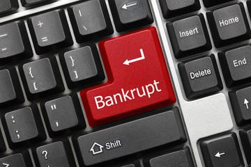 Conceptual keyboard - Bankrupt (red key)