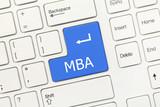 White conceptual keyboard - MBA (blue key) poster