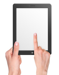 Computer tablet with blank screen and hands