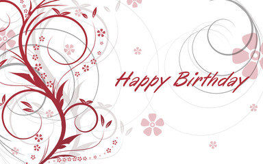 Birthday greetings on natural background, vector illustration