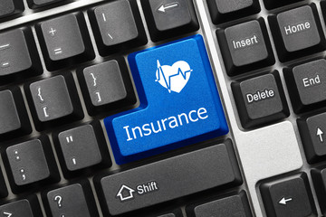 Conceptual keyboard - Insurance (blue key with cardiology symbol